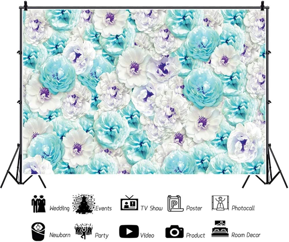 Leowefowa Graceful Blue White Flower Wall Vinyl 12x8ft Photography Background Wedding Ceremony Backdrop Bride Groom Portrait Shoot Bridal Shower Wedding Photo Booth Wallpaper Studio Props