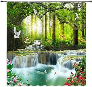 XZMAN Forest Waterfall Shower Curtain Nature Rainforest Tree Wild Animals Deer Birds Flower Butterfly Sunrise Summer Scene...
