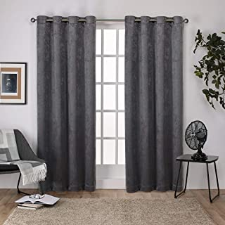 Exclusive Home Curtains Antique Shantung Twill Woven Brushed Window Curtain Panel Pair with Grommet Top, 52x96, Black Pear...