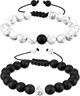 Mens Lava Rock Bracelet for Women Aromatherapy Anxiety Essential Oil Diffuser Volcanic Stone Bead Bangle(black and white)