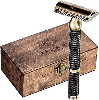 Safety Razor – Premium Solid Brass Handle,Double Edge Safety Razor, Three Piece Razor, Easy Cleaning Design Classic Razor, traditional Razor, with Gift Box, Mens Razor for Shaving