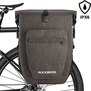 ROCK BROS Bike Panniers Bag Bicycle Waterproof Rear Rack Bag 27L Saddle Bag for eBike Cycling Travel Bag with Single Shoulder Strap