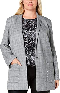 Womens Plus Glen Plaid Business One-Button Blazer