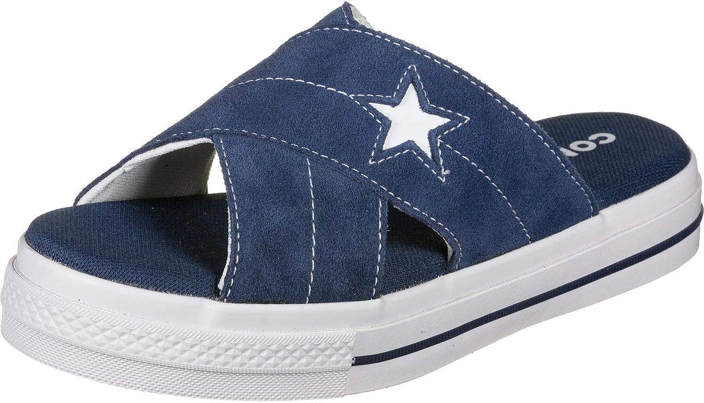 Converse Women's Popular popular One Star Suede Slip Egret Sandal Navy White Outstanding