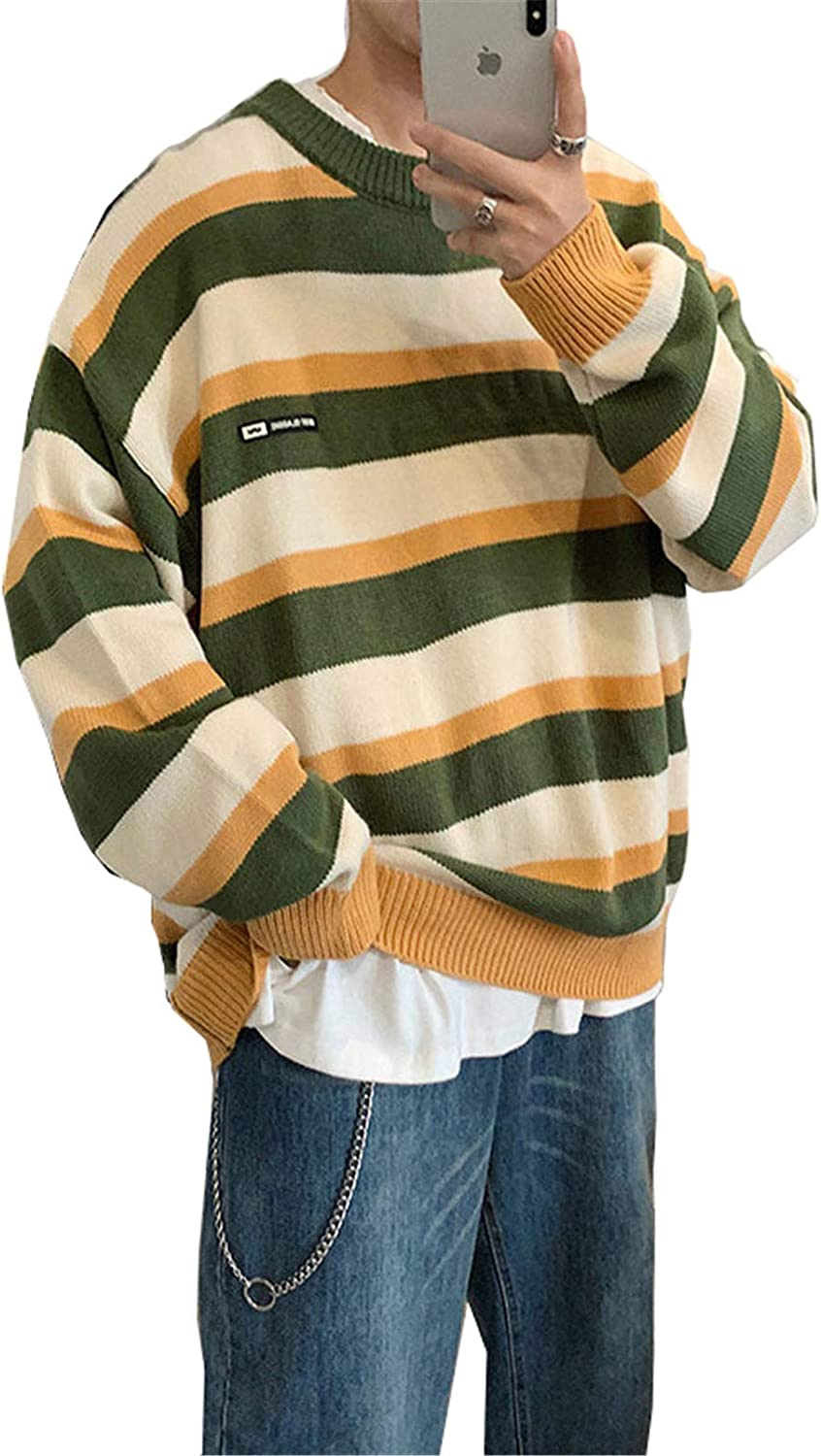 GUOYUXIAO Pullover Striped Sweater Mens Knitted Men Sweaters Hip Hop Harajuku Korean Casual Black Sweater Men