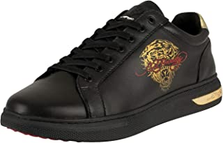 ED HARDY Men's Pop Low Top Leather Trainers, Black