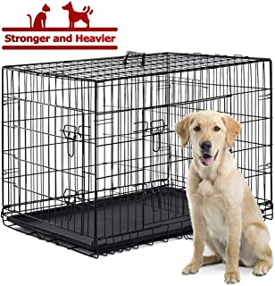 Large Dog Crate Dog Cage Dog Kennel Pet Puppy Playpen Outdoor Metal Wire Folding Travel Camping Crate with Divider Double Door Plastic Tray,48 inches