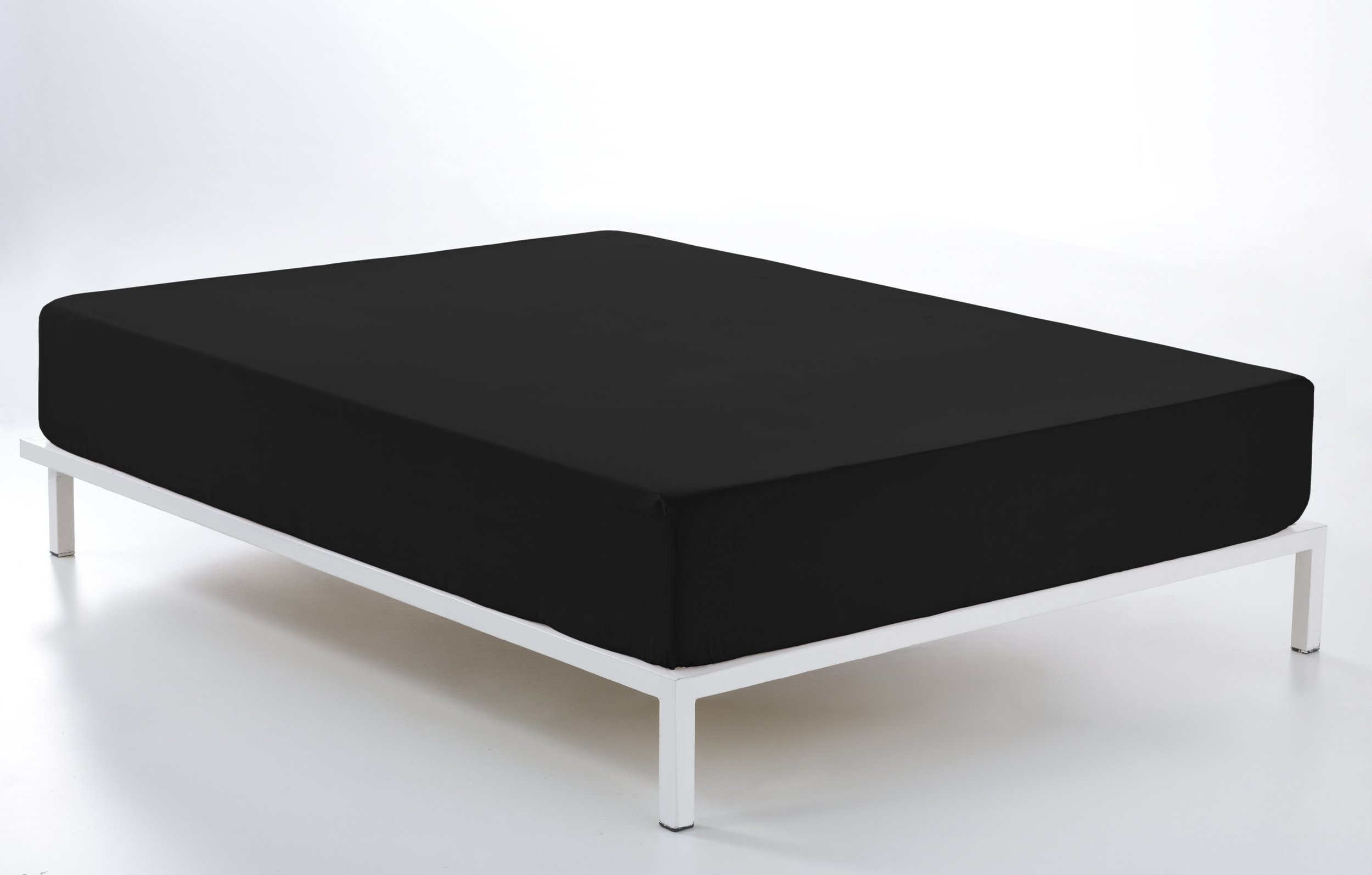 ESTELA - Sábana Bajera Ajustable Combi Color Negro - Cama de 90 cm. - 50% Algodón / 50% Poliéster - 144 Hilos: Amazon.es: Hogar