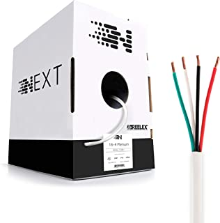 Next 16/4 Plenum Speaker Wire - 16 AWG/Gauge 4 Conductor - UL Listed in Wall (CL2P/CL3P/CMP) Rated - Oxygen-Free Copper (OFC) - 500 Foot Bulk Cable Pull Box - White