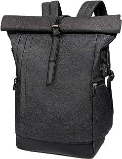 Tocode Laptop Rucksack Damen Herren, Roll Top Rucksack mit USB fur 15.6 Zoll Notebook, Anti-Theft Tasche Daypack Mode Rucksack Frauen, Wasserabweisend Schulrucksack Mädchen Teenager Schulranzen Jungen