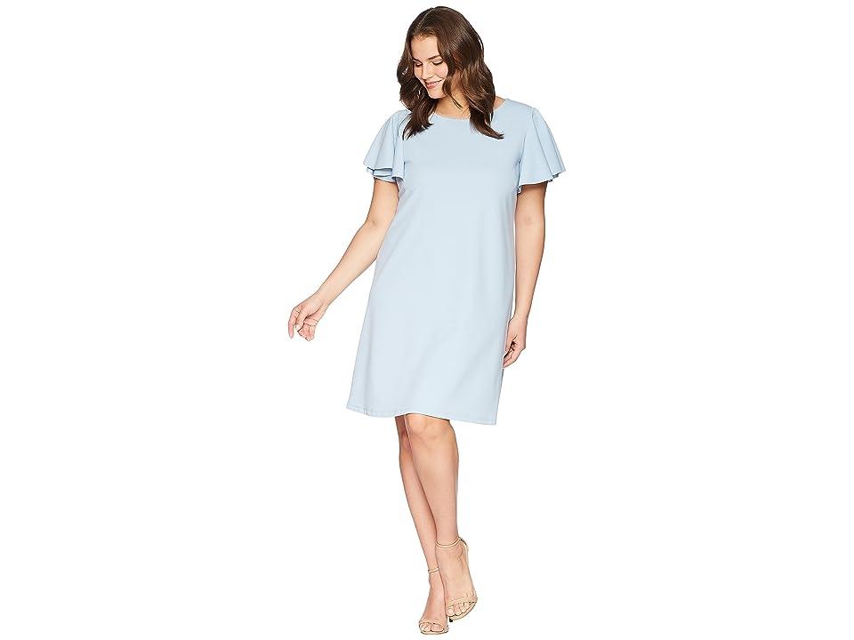 KARI LYN Plus Size Mina Ruffle Sleeve Dress (Blue) Women