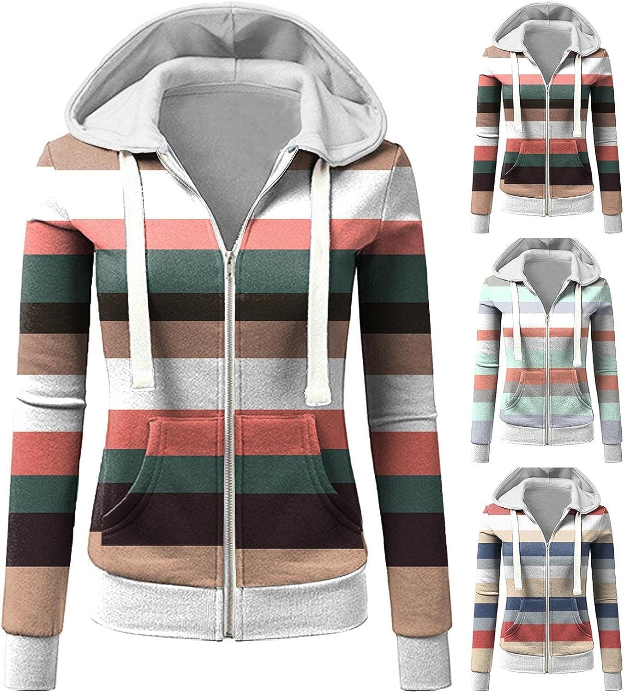 Zip Up Hoodies for Women,Womens Sweatshirt Hooded Long Sleeve Striped Sweater Crewneck Hoodie Sweatshirt Coat