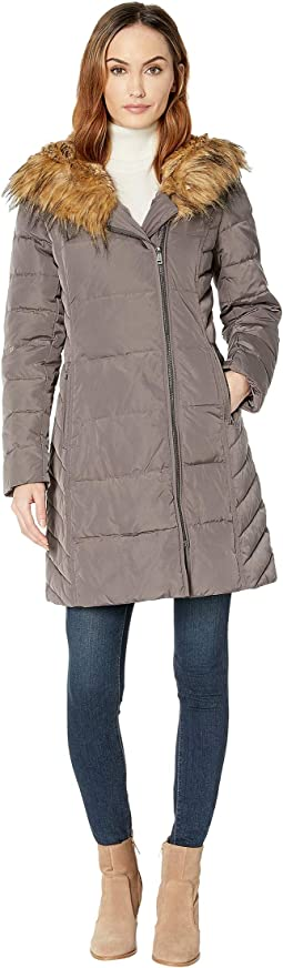 Taffeta Down Coat with Faux Fur Hood