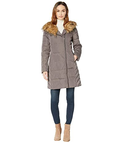 Cole Haan 36 Quilted Exposed Zip Front Coat with Faux Fur Trim (Carbon) Women