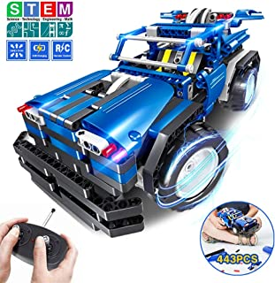 STEM Toys Gift for Boys & Girls Age 6yr-14yr, 2-in-1 Remote Control Car Building Kits, Birthday Engineering Learning Set for Kids 6,7,8,9+ Year Old (443pcs)