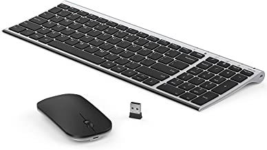 Rechargeable Wireless Keyboard Mouse, Seenda Ultra Small Compact Low Profile Keyboard and Mouse Combo with Number Pad(Aluminium Base, Long Battery Life)-Silver and Black