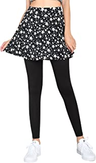 ililily Women S-4XL Flared Skirt with Lightweight Stretchy Comfy Black Leggings