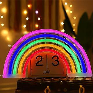 Amzeeniu Enseigne au Néon Rainbow Veilleuse LED Lampe Nuit Applique murale LED Néon Lumières Lumière Enseignes lumineuses,...