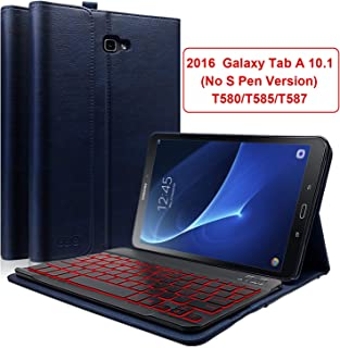 COO Keyboard Case for Galaxy Tab A 10.1 2016 (No S Pen Version), PU Leather Case with Detachable Backlit Wireless Keyboard Compatible Samsung Galaxy Tab A 10.1 (Model SM-T580/T585/T587) (Blue)