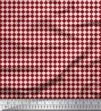 Soimoi Red Rayon Fabric Diamond Geometric Print Sewing Fabric BTY 42 Inch Wide