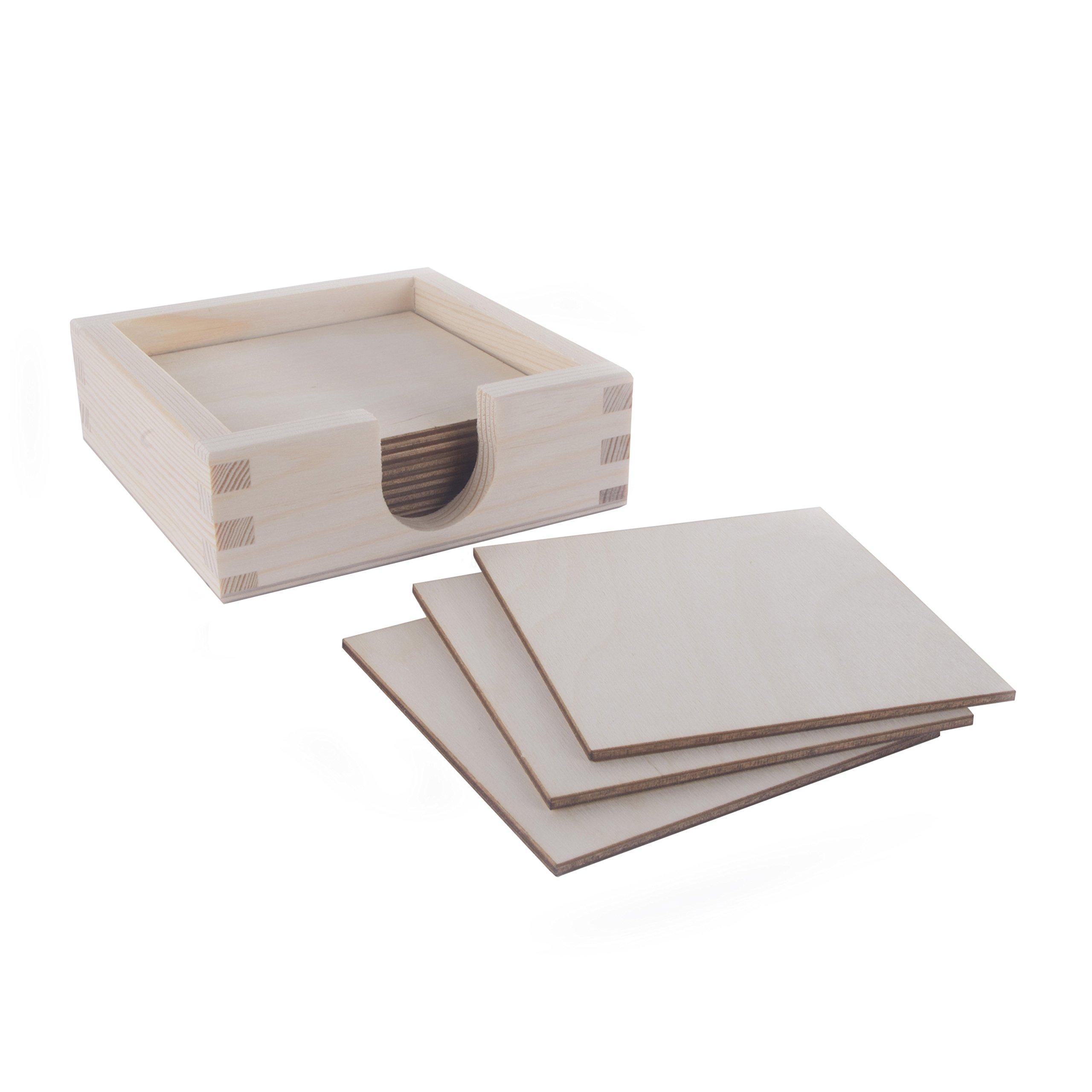 Posavasos cuadrados de madera para manualidades con soporte para ...