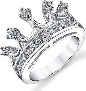 925 纯银公主皇冠皇冠方晶锆石戒指