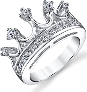 925 Sterling Silver Princess Crown Tiara Cubic Zirconia Ring Band