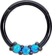 WildKlass Jewelry Black Septum Clicker 16g 1//4 6mm Light Blue Opal Hexa Gemina Septum Ring