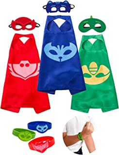 Cartoon Hero Costumes and Dress up for Kids - Capes and Masks Bracelets for Catboy Owlette Gekko Costume