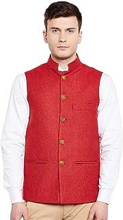 Men's Tweed Bandhgala Festive Nehru Jacket Waistcoat -7 Colors
