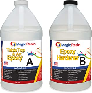 Magic Resin | 2 Gallon (7.6 L) | Table Top & Art Epoxy Resin Kit | Non-Toxic | Premium Quality | High Gloss Thick Clear Co...