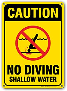 Caution No Diving Shallow Water - Pool Rules Sign - 10