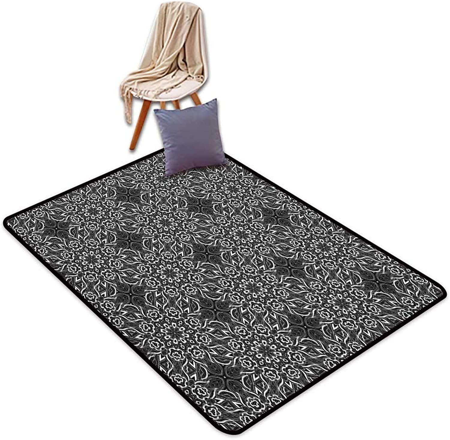 Non-Slip Carpet Black and White Abstract Monochrome Composition with Flowers and Foliage Leaves Pattern Door Rug Increase W4'xL6'