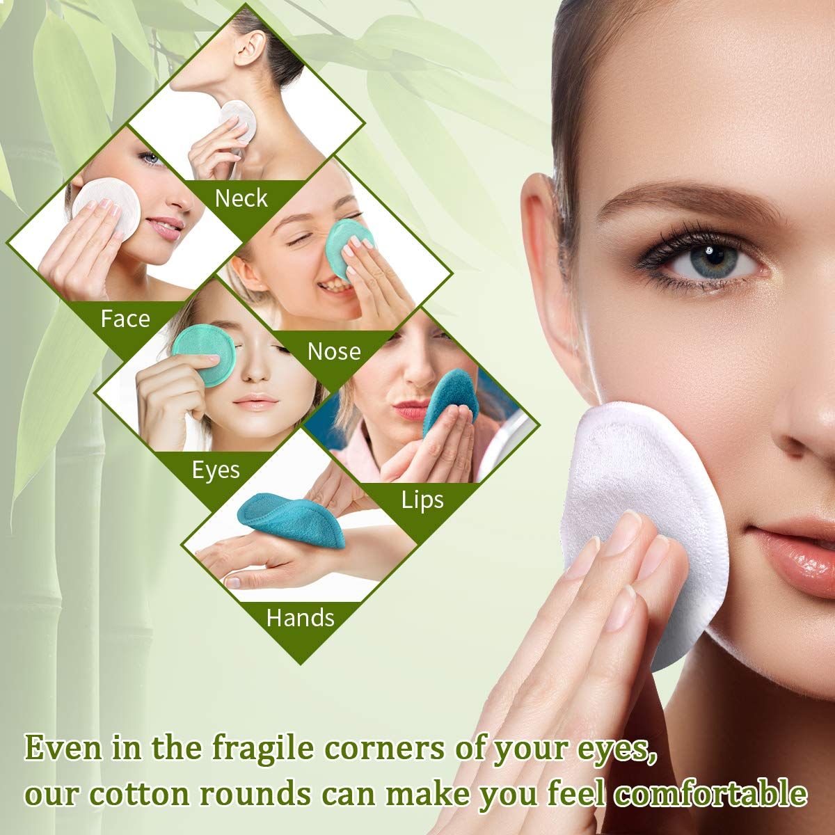 1000PCS maquillaje suave almohadillas de algod/ón pelusa Toallitas gratuita para eliminar de u/ñas Cara Ojos absorbente y delgada de algod/ón cosm/ético