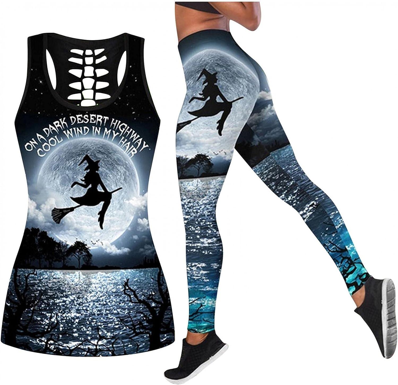 AIHOU Halloween Tank Tops for Women Sexy Legging Elastic Slim Set Workout 2 Pcs Outfits Tracksuit Sleeveless Shirts Sets