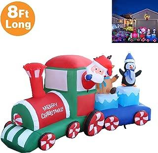RETRO JUMP 8 Ft Long Lighted Christmas Inflatable Santa Claus Reindeer & Penguin on Train, Xmas Blow up Indoor Outdoor Yard Garden Prop Decoration
