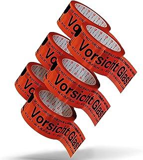 Pakketband Voorzichtig glas breekbaar 5 cm x 66 m in rood (6 rollen) - Voorzichtig glas pakkettape extra sterk - meertalig...