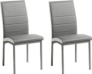 Miroytengo Pack 2 sillas Comedor salón Meli Gris Estilo contemporaneo Cocina Modernas Polipiel 92x54x45