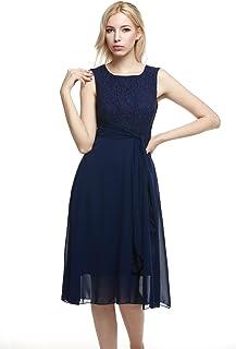cf5f646ccaaa Zeagoo Women's Elegant Lace Chiffon Patchwork Dress Sleeveless Fit Flare  Wedding Evening Party Dress