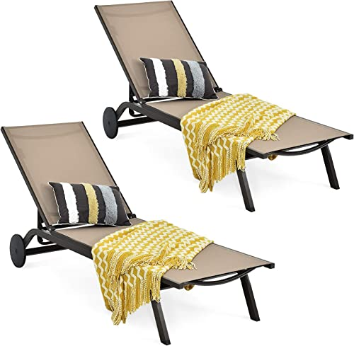 lowest Giantex Lounge Chairs for Outside Patio Chaise Lounges Aluminum Recliner W/Adjustable 6 Backrest lowest Positions and Wheels for Patio Beach Poolside Outdoor Sunbathing Chair(2, 2021 Brown) outlet online sale