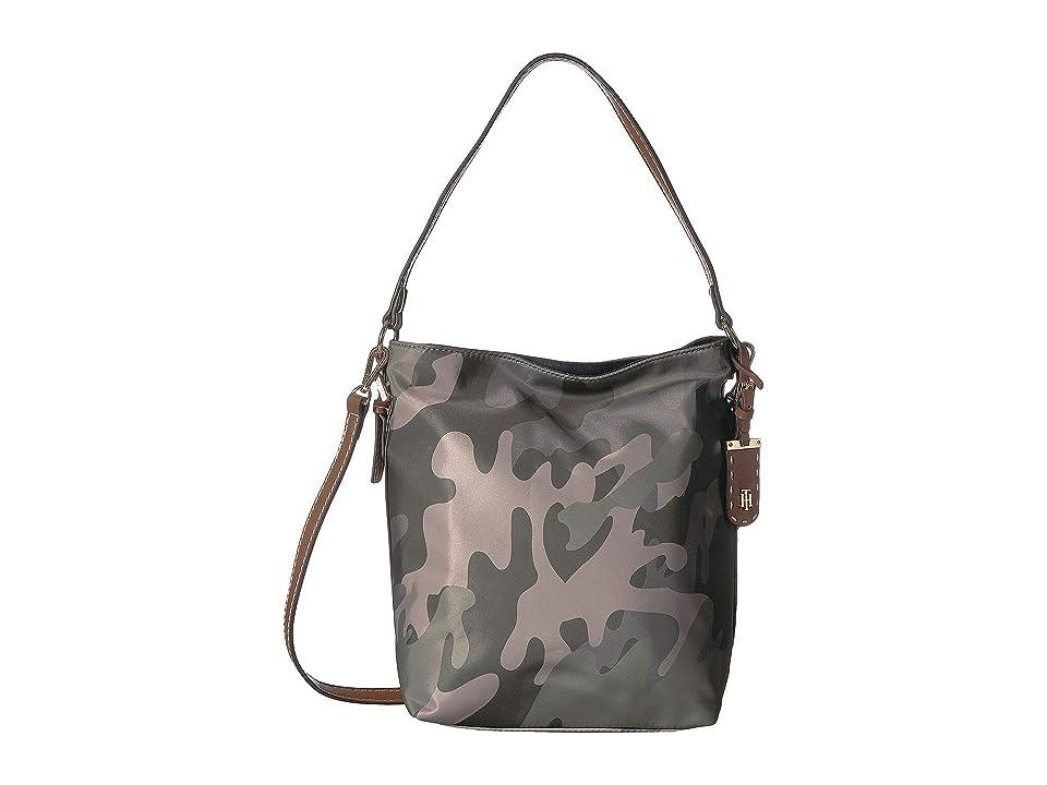 Tommy Hilfiger Julia Camo Convertible Hobo (Green/Multi) Handbags
