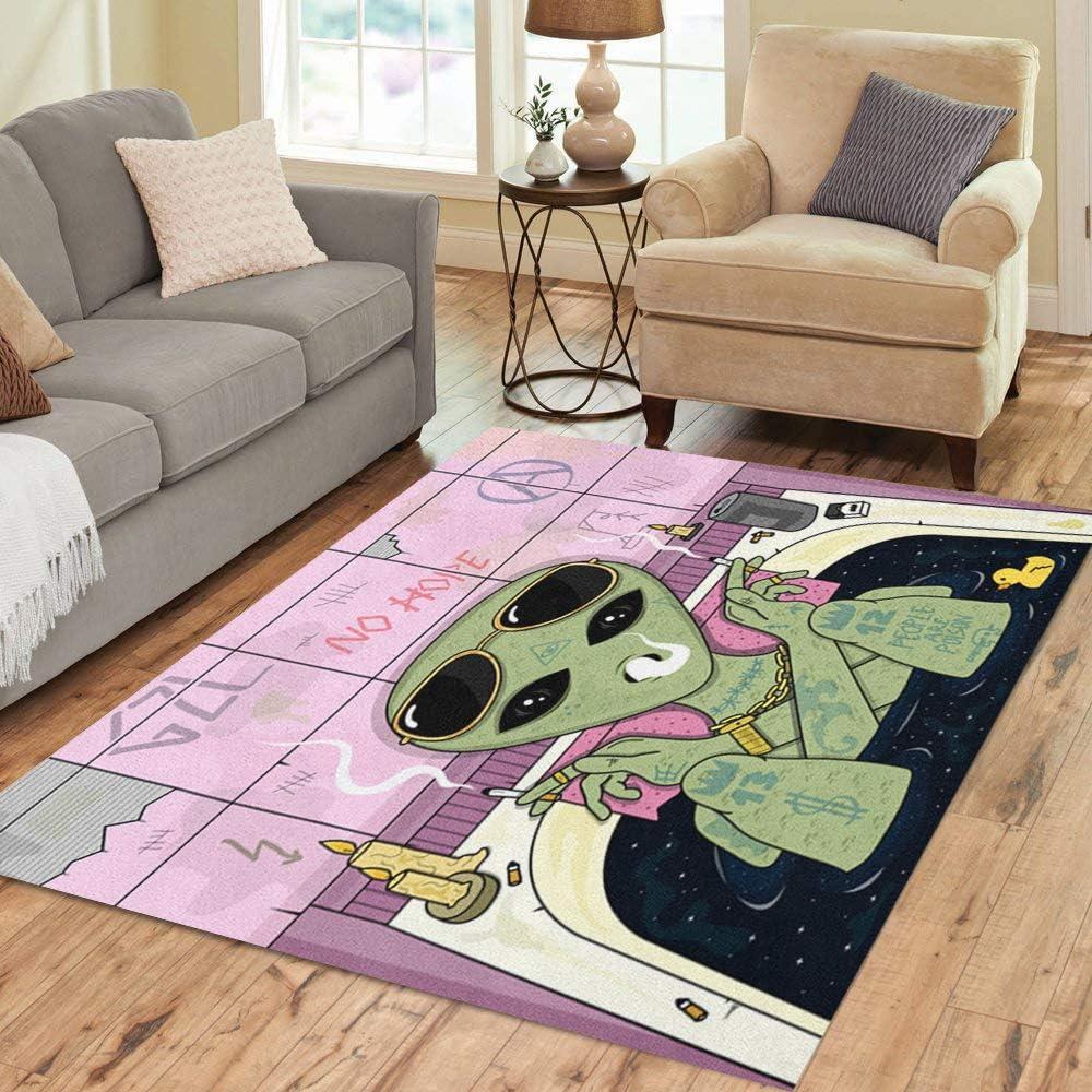 Trippy Alien By Brizbazaar Carpet Rug The Third Eye Floor Mat Non-slip Doormat