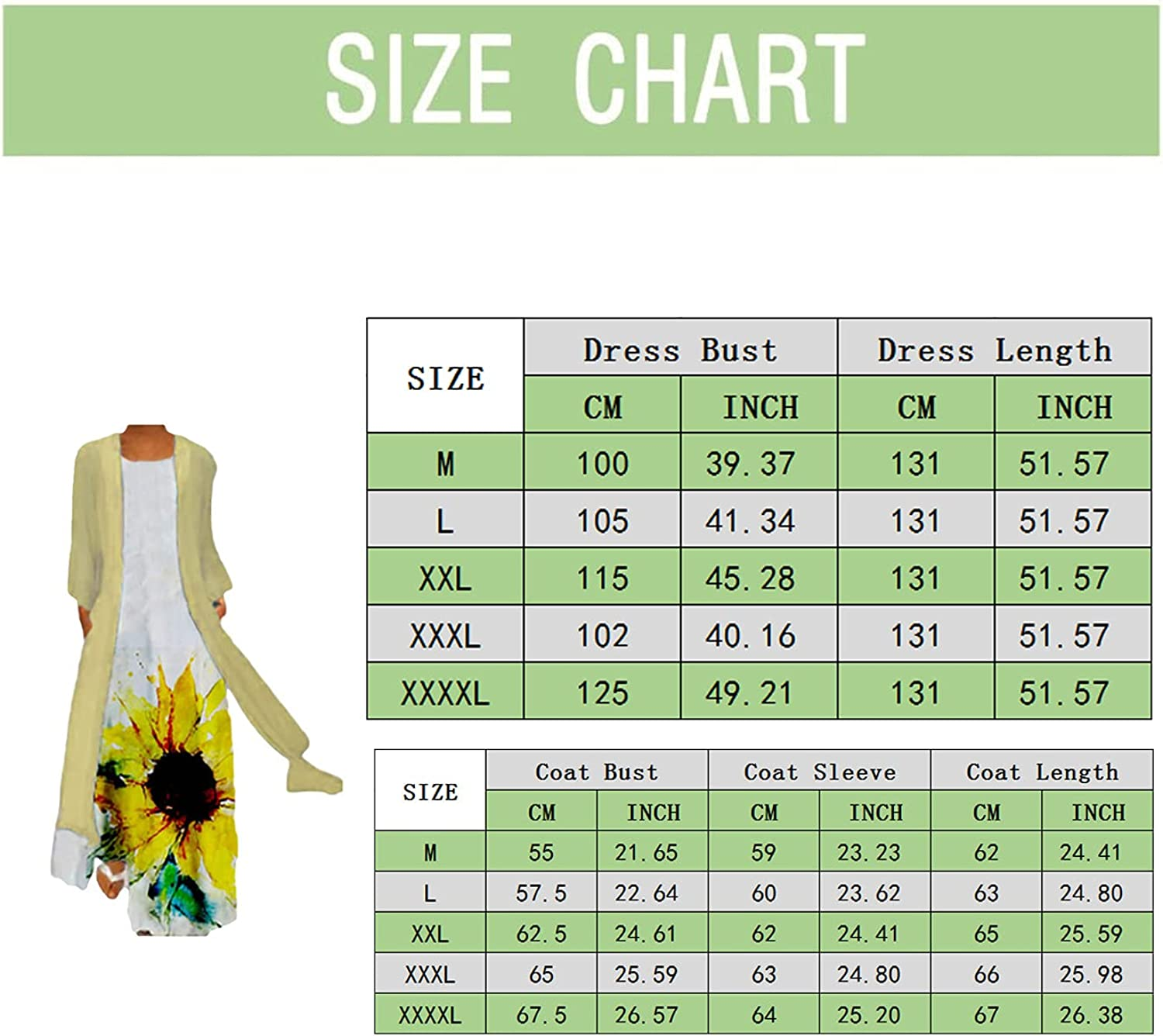 Dress with Cardigan Set for Women Plus Size Print Sleeveless O Neck Dresses and Long Thin Coat Two Pieces