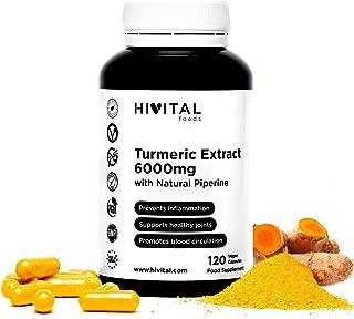 Cúrcuma 6000 mg, Extracto al 95% con Pimienta Negra | 120 cápsulas vegetales | Para mejorar la circulación sanguínea, la salud cardiovascular, combatir la inflamación y el dolor de las articulaciones.