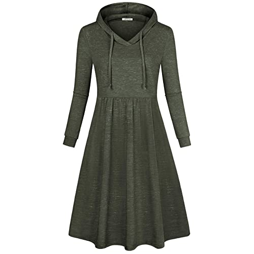 9b9e8baf280a SeSe Code Women's Long Sleeve Pleated Swing Midi Casual Dress with Hooded