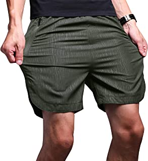 Mens Gym Quick Dry Shorts Workout Training Running Vertical Stripe Shorts with Zipper Pocket