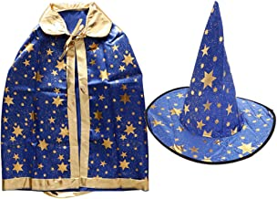 Prettyia Boy Girl Kids Children Christmas Costumes Witch Wizard Cloak Cosplay with Hat Cap Stars Halloween Fancy Dress - Blue