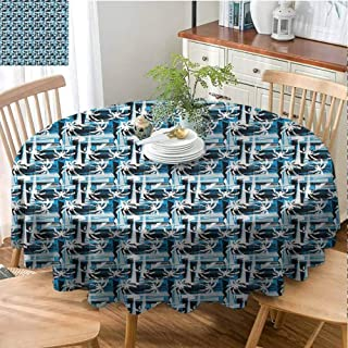 Mannwarehouse Blue Dustproof tableclothTropical Beach Palm Trees Great for Buffet Table D67