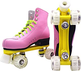 Pu Leather Roller Skates Double Line Patines Women Lady Models Adult Pink with Racing 4 Pu Wheels Two Line Roller Skating Shoes