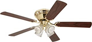 Westinghouse Lighting 7216500 Contempra IV 52-Inch Indoor Ceiling Fan, Light Kit with Clear Ribbed Glass, Polished Brass (Includes Bulbs)